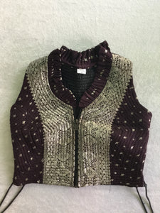 Indian Silk Cropped Zip Vest