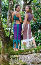 Load image into Gallery viewer, Two women stand in the jungle wearing mid length fairy skirts. One skirt is beige with white lace trim. The other is purple with a turquoise lace trim. Festival Pixie Skirt, Gypsy Lace Fairy Boho Elven Burlesque Bohemian