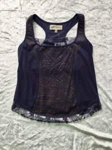 Organic Cotton Shipibo Print Top with Lace