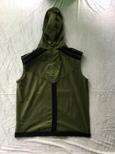 Men's Vest Hoodie with Sacred Geometry Embroidery on Back