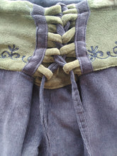 Load image into Gallery viewer, Corduroy Flaired Pants with Embroidery on Waist