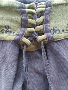 Corduroy Flaired Pants with Embroidery on Waist