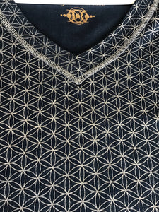 Men's Organic Cotton Flower of Life Grid V Neck Tee