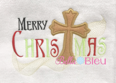 BBE - Merry Christmas Saying with an Applique Cross