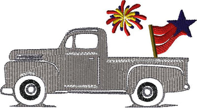 GRD Vintage Sketch Truck Hauling 4th Of July