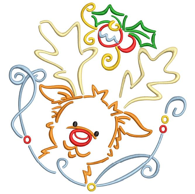 BBE -  Christmas Reindeer Satin Machine Embroidery Design
