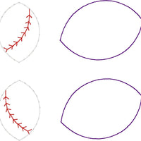 DBB Baseball Softball Stitching Layers Earrings and Pendant embroidery design for Vinyl and Leather