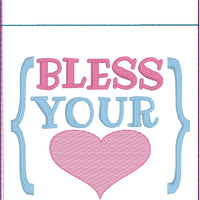 DBB Bless Your Heart Pen Pocket In The Hoop (ITH) Embroidery Design