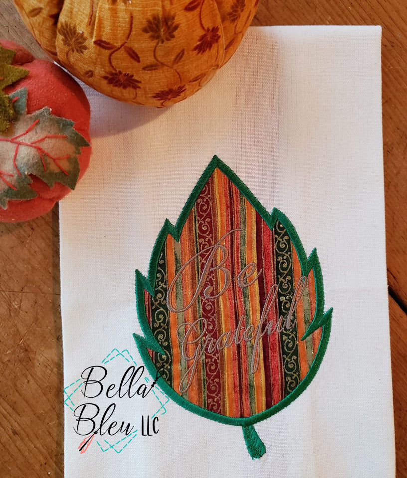 BBE - Be Grateful Fall leaf applique design