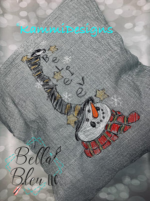Christmas Believe Snowman Sketchy Scribble embroidery design