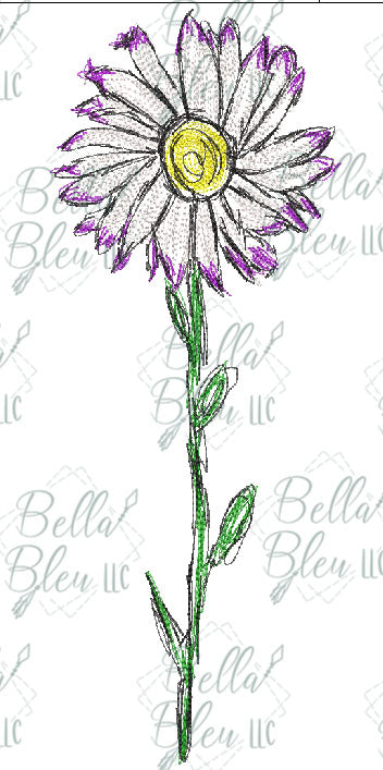 BBE Daisy 2 Flower Scribble Sketch