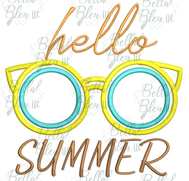 BBE Hello Summer Sunglasses Applique Saying