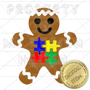 MDH Autism Awareness Gingerbread Boy SVG