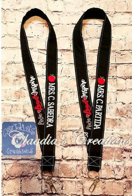 CC  Love Lead Inspire words with hearts, Apple Charm, Lanyards Wording ONLY