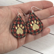 DBB Paw Print Teardrop Earrings embroidery design