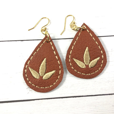 DBB Lotus Blossom Teardrop Earrings embroidery design