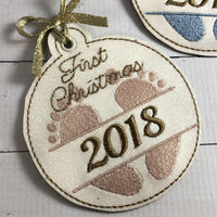 DBB Babys First Christmas Ornament for 4x4 hoops