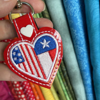 DBB Texas America LOVE snap tab In The Hoop embroidery design