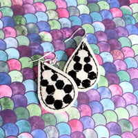 DBB Soccer Stitching Teardrop Earrings embroidery design DBB