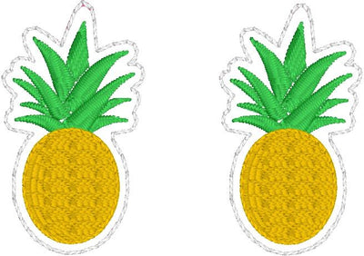 DBB Pineapple Earrings embroidery design for Vinyl and Leather