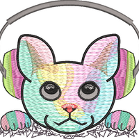 DED Rave Kitty Listening to Music