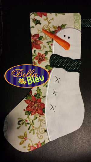 BBE - ITH Snowman Stocking, In The Hoop - 3 Sizes!