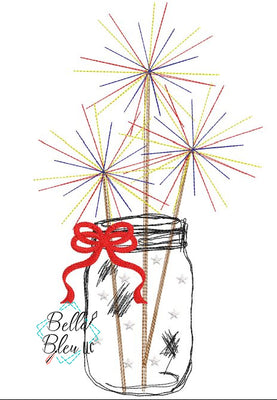 BBE 4th of July Scribble Sparklers in Mason Jar