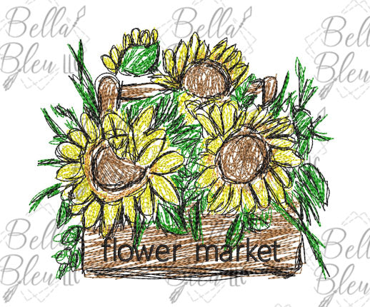 BBE Sunflower Flower Market Scribble