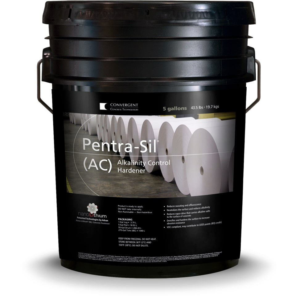 Black 5 gallon bucket labeled Pentra-Sil AC