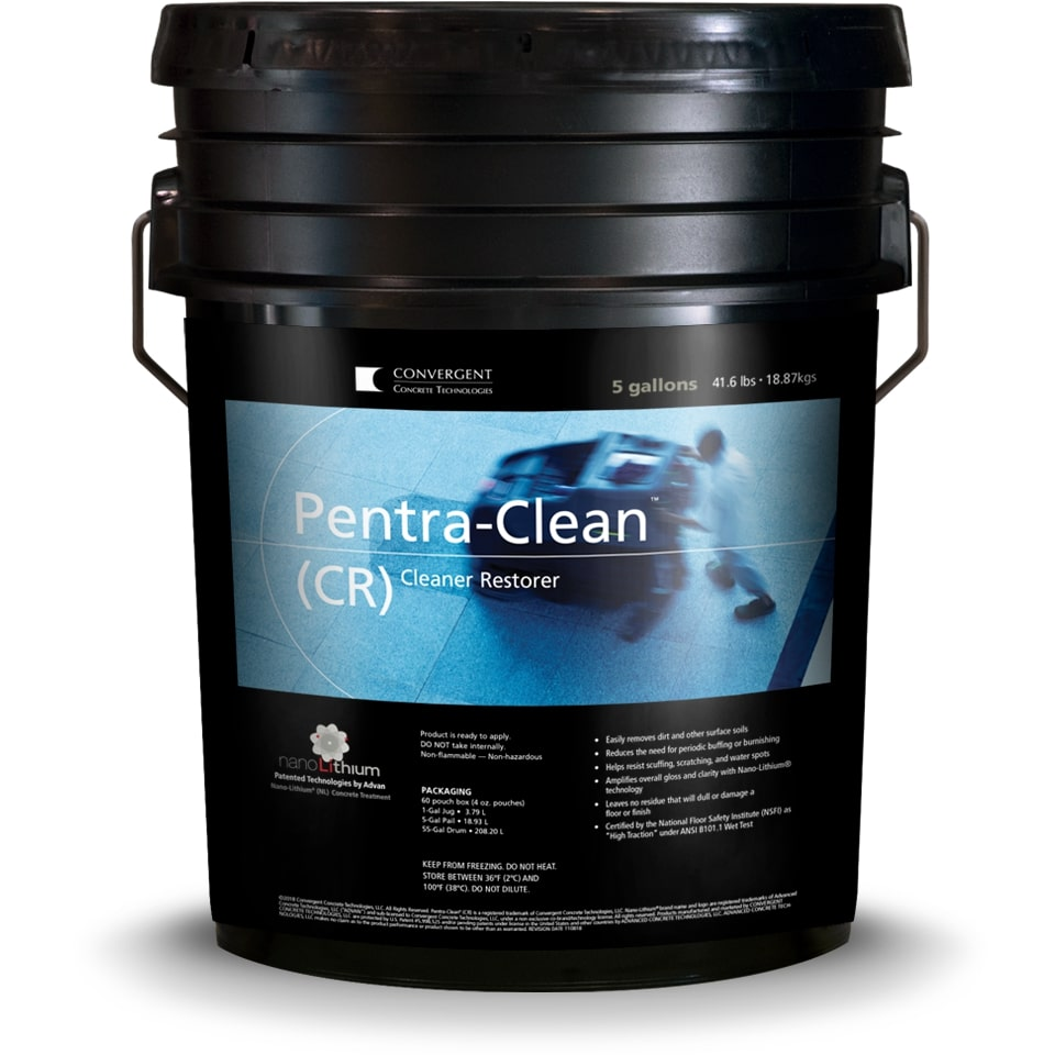 Black 5 gallon bucket labeled Pentra-Clean CR