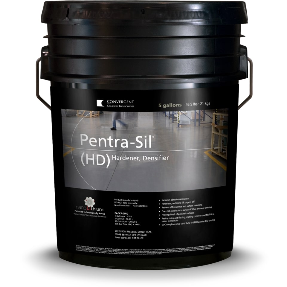Black 5 gallon bucket labeled Pentra-Sil HD