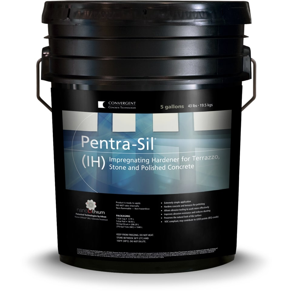 Black 5 gallon bucket labeled Pentra-Sil IH