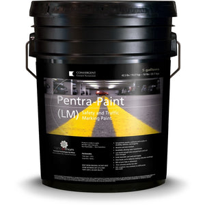 Black 5 gallon bucket labeled Pentra-Paint LM