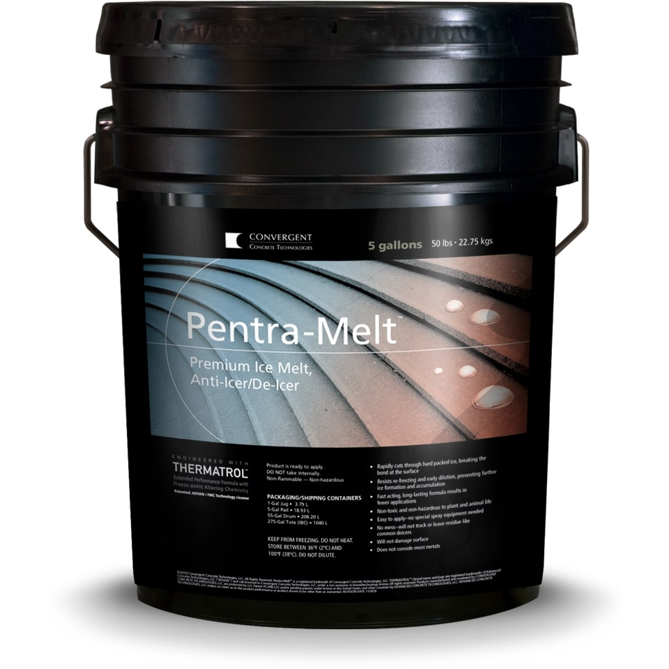 Black 5 gallon bucket labeled Pentra-Melt