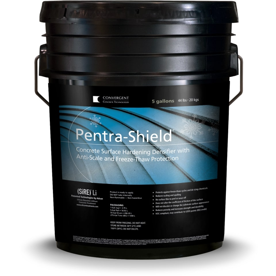Black 5 gallon bucket labeled Pentra-Shield