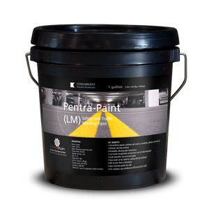 Black 1 gallon small pail labeled Pentra-Paint LM