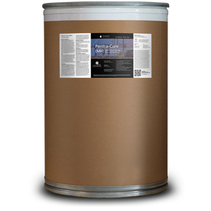 Brown 55 gallon drum labeled Pentra-Cure MH