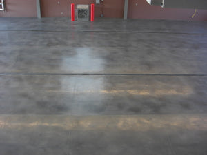 Industrial concrete floor stained with Colorfast stain gray