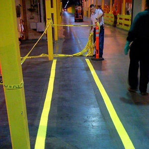 Warehouse floor safety lines painted with Pentra-Paint LM