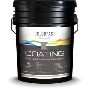 5 gallon bucket labeled colorfast coating for concrete