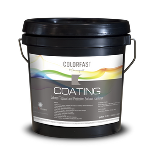 Mini sized 1 gallon pail of colorfast coating from Convergent Concrete