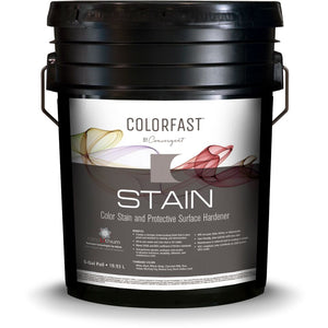 5 gallon bucket of Colorfast stain from Convergent creates a stronger finish for concrete flooring