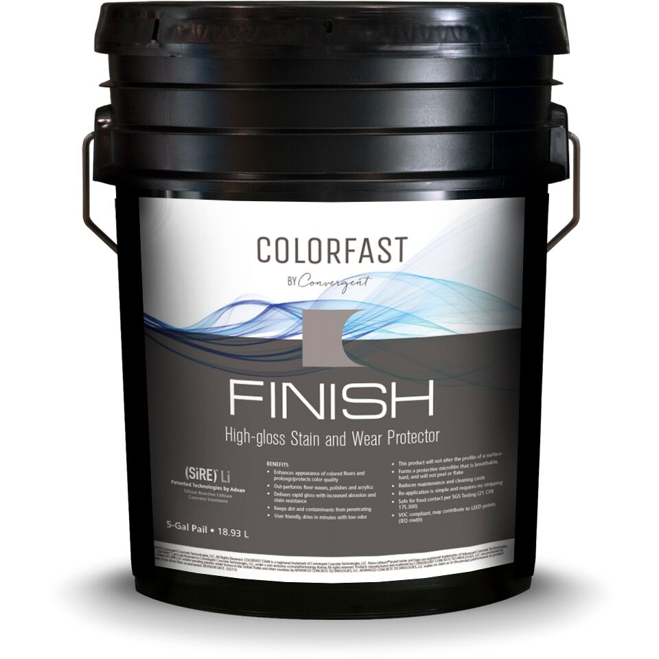 Black 5 gallon bucket labeled colorfast finish for concrete floors