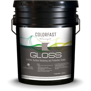 Black 5 gallon pail labled colorfast gloss for commercial concrete floor