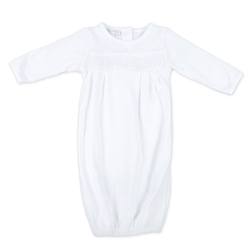 Essentials Smocked Gown - White