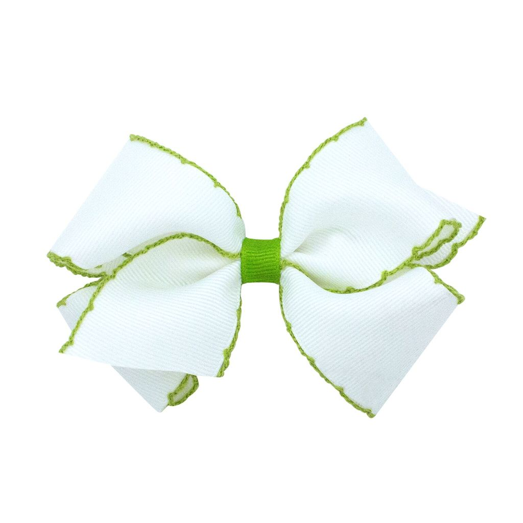 White with Green Moonstitch Bow