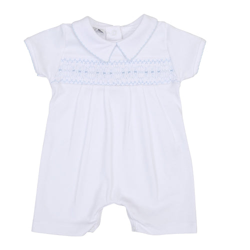 Becky and Ben's Classics Smocked Collared Boy Short Playsuit - Blue