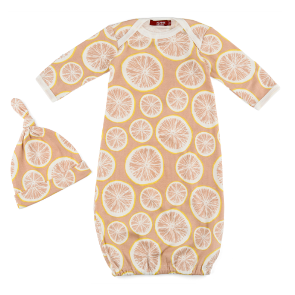 Organic Gown and Hat Set - Grapefruit