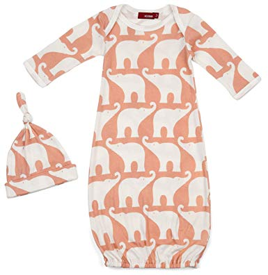 Organic Gown and Hat Set - Rose Elephant