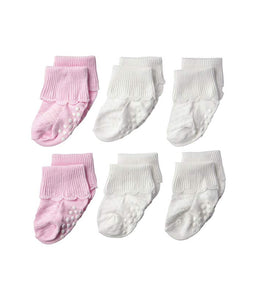 Non-Skid Scalloped Turn Cuff Socks - Pink and White